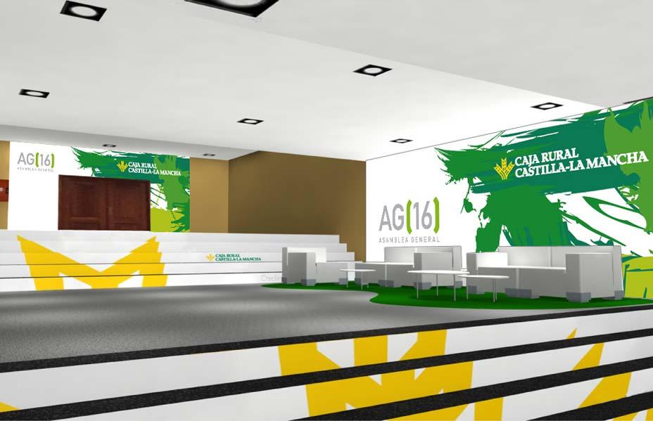 Diseño de hall para la Asamblea general 2016 Caja Rural Castilla La mancha